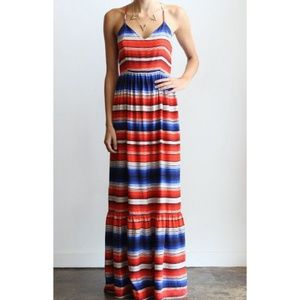 Parker Cornelia Mixed Stripe Silk Maxi Dress, Sz M